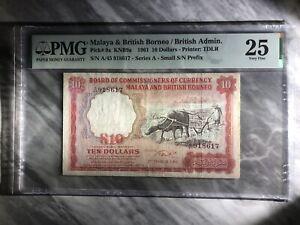 1961 $10 Malaya PMG25