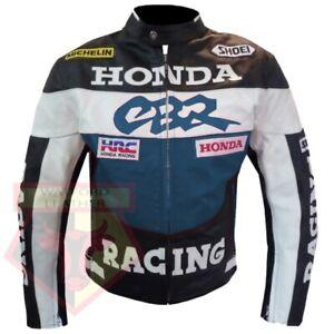 HONDA-CBR-NAVY-BLUE-MOTORBIKE-MOTORCYCLE-BIKERS-COWHIDE-LEATHER-ARMOURED-JACKET