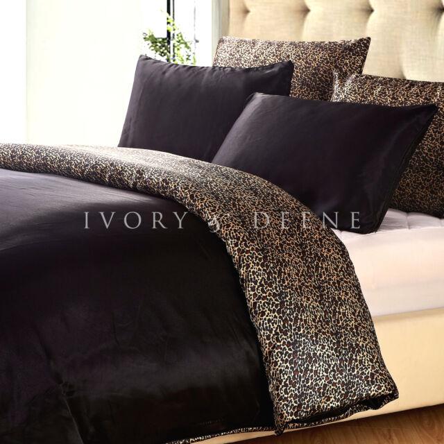 SATIN QUILT COVER Queen Size Reversible Leopard/Black Doona Duvet Silk Feel NEW