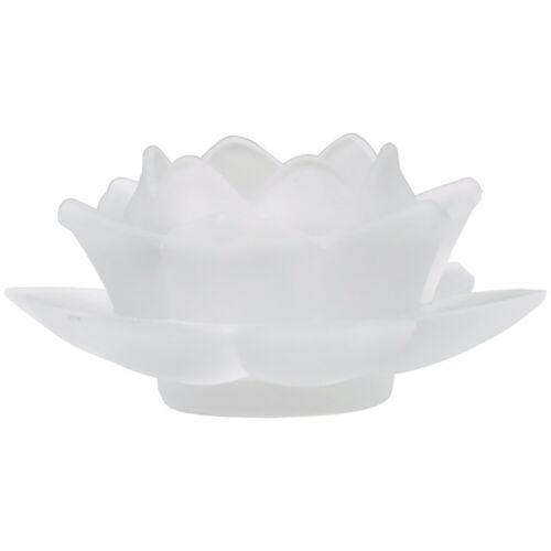 FindSomethingDifferent Teelichthalter Lotusblume aus weißem Glas