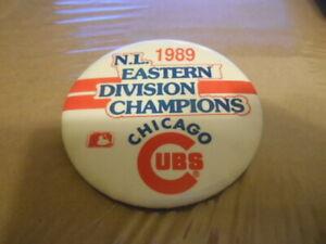 Vintage-CHICAGO-CUBS-Pinback-Baseball-Button-1989-EASTERN-DIVISION-CHAMPIONS
