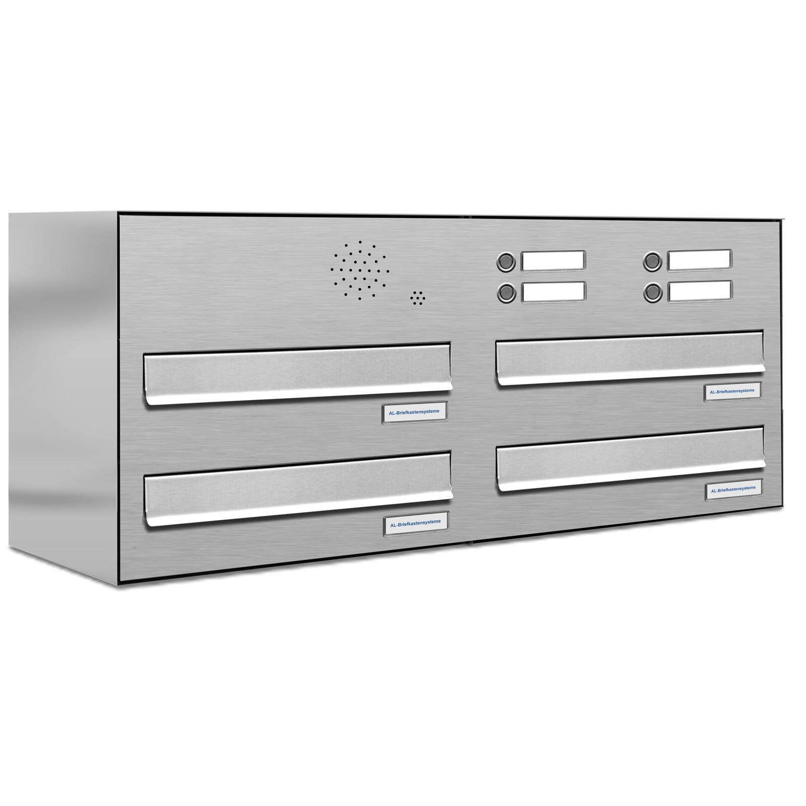 4 er Premium Zaun Durchwurf Klingel V2A V2A V2A Edelstahl Briefkasten mit Postkasten 2x3 316231