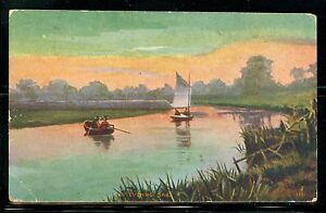 """""""An Evening Sail"""" painting mailed 1910 from Forest City, NC."""
