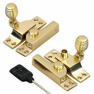 Solid-Polished-Brass-Beehive-Locking-amp-Non-Locking-Sash-Fasteners