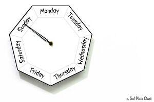 Fun Clock Gift Hexagon White Wall Clock DayClocks Day of The Week Clock