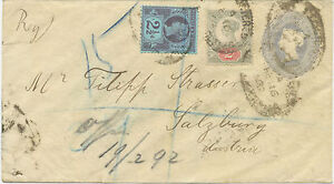 GB-1892-QV-2-D-greyblue-postal-stationery-env-uprated-EARLIEST-KNOWN-USAGE