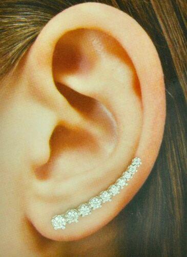 14k Solid or Blanc Zircone cubique zircone cubique oreille Crawler grimpeur Boucle d/'oreille Boucles d/'oreilles