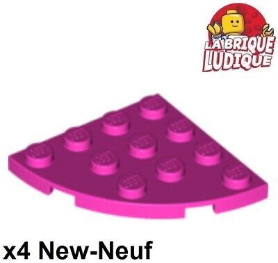 LEGO x 4 Tan Plate Round Corner 4x4-30565 NEUF