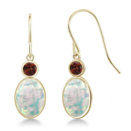 2.34 Ct Oval Cabochon White Simulated Opal Red Garnet 14K Yellow Gold Earrings
