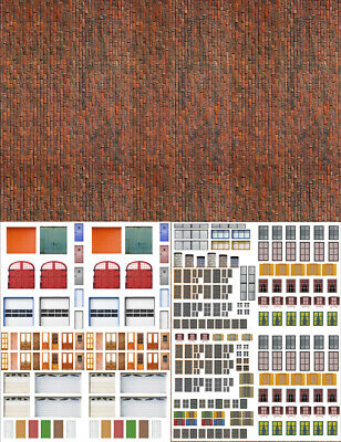 Five 8.5x11 Coverstock Dk Calico Brick Scenery Sheets for Collectible Villages