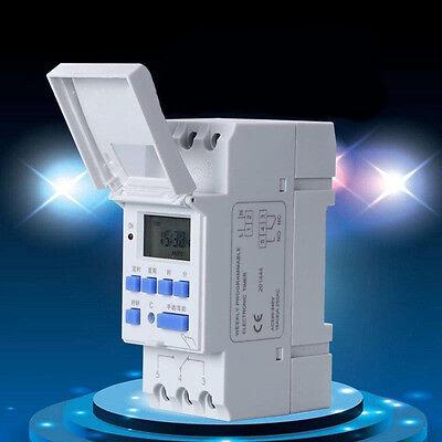 New DIN Rail Time Relay Switch Digital LCD Power Programmable Timer DC 12V-220V