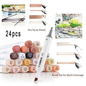 24-Colours-Set-Exquisite-Marker-Pens-Skin-Tone-Sketch-Artist-Drawing-Portrait-zph