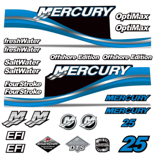 Mercury 25 Four 4 Stroke Decal Kit Outboard Engine Graphics Motor Stickers BLUE