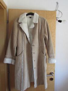 hot sale online d3314 a4eb5 Details zu Ledermantel Mantel Leder Wintermantel beige Kunstpelz NEU Gr. 40