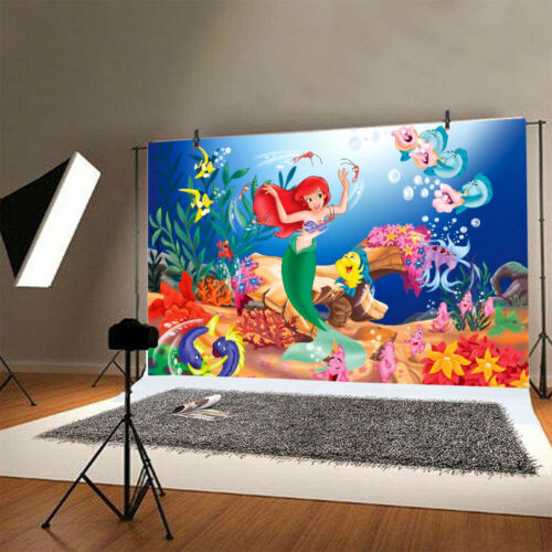 Little Mermaid Photography Backdrop Girls Birthday Party Photo Background Gift