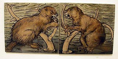 William De Morgan 2 Tile Beaver Panel / Bathroom / Kitchen / Splashback