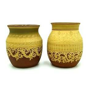 2-x-Vintage-Joan-Sayers-Australian-Pottery-Vases-Hand-Carved-Decoration-1970s
