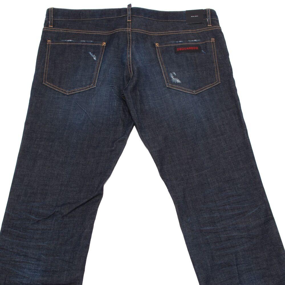 7644q Jeans Uomo Dsquared2 Slim Jean Pantaloni Blu Trousers Men