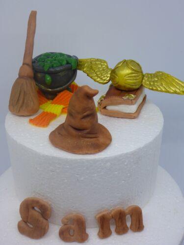 Edible  Harry Potter Handmade Scarf Wand Cauldron  Snitch Birthday Cake Topper