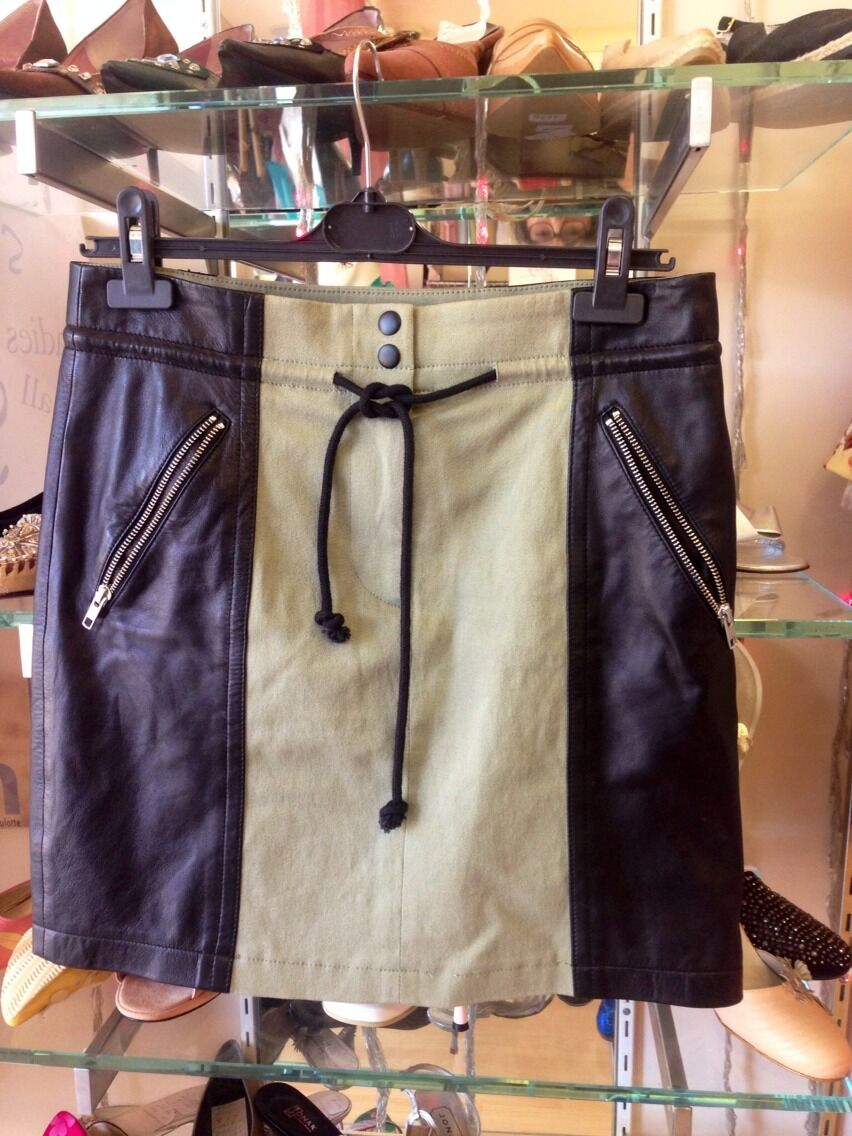 CUT25 By YIGAL AZROUEL ,Skirt W Leather, BNWT, SzM(US6),RRP