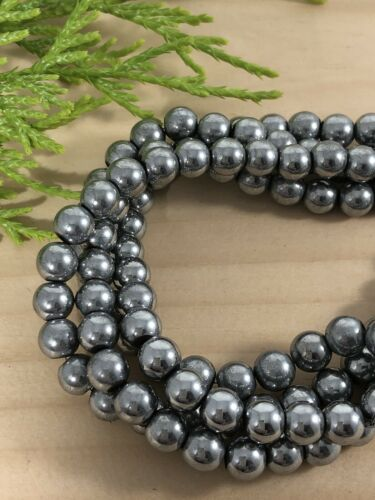 Platinum Silver Magnetic Hematite Round Beads 6mm ~1 strand~70 Beads hole is 1.5