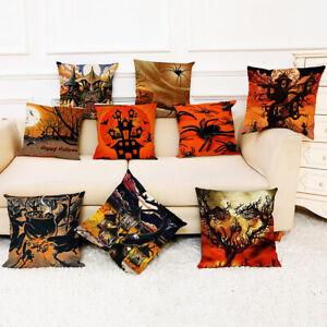 Am-CO-Halloween-Horror-Castle-Witch-Linen-Pillow-Case-Cushion-Cover-Home-Decor