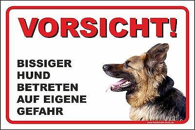 Schild Aufkleber Wachhund Vorsicht bissiger Hund Betreten auf eigene Gefahr T-17