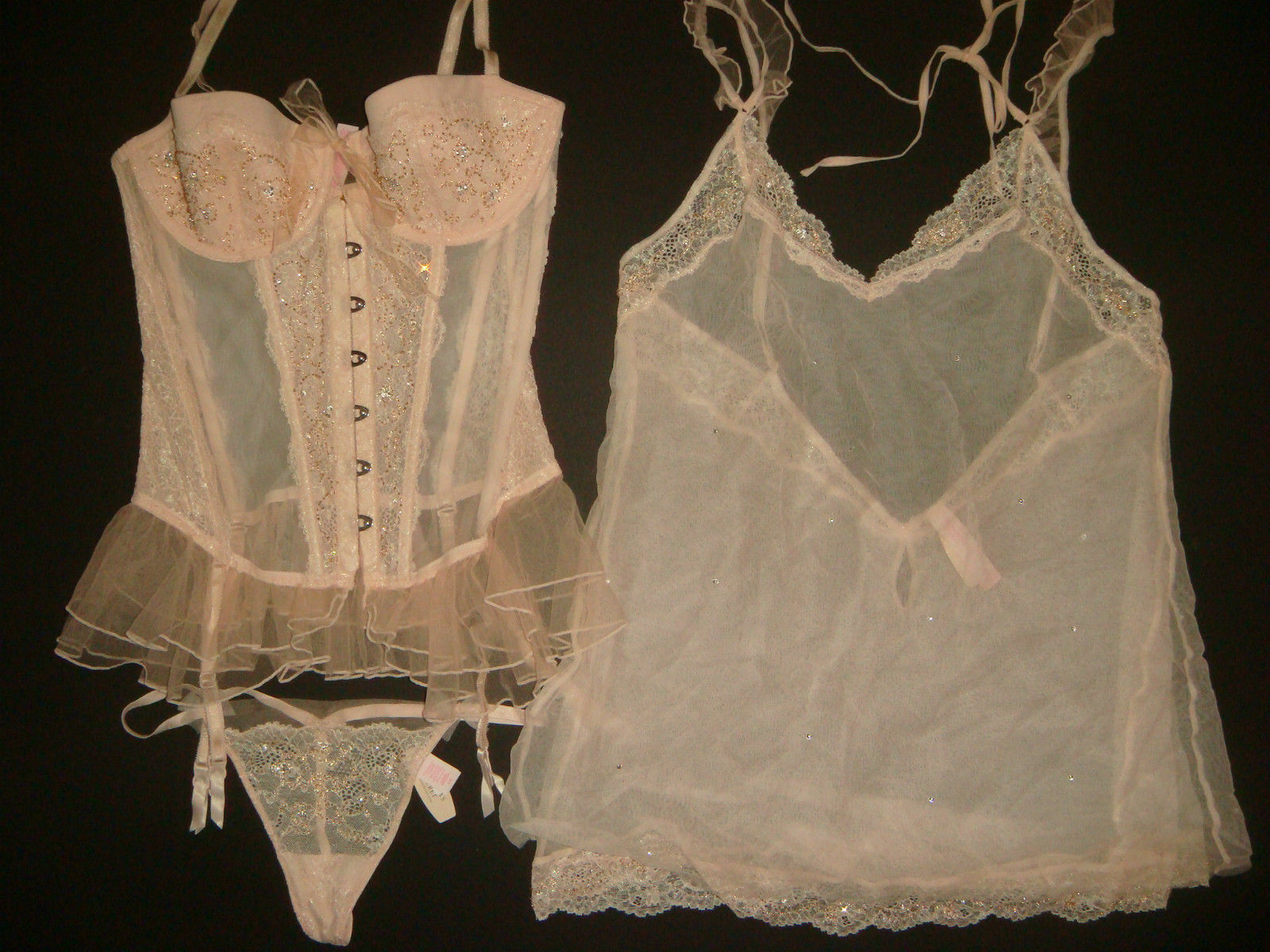 NWT Victoria's Secret 36D GARTER SLIP CORSET+L BABYDOLL beaded DREAM ANGELS