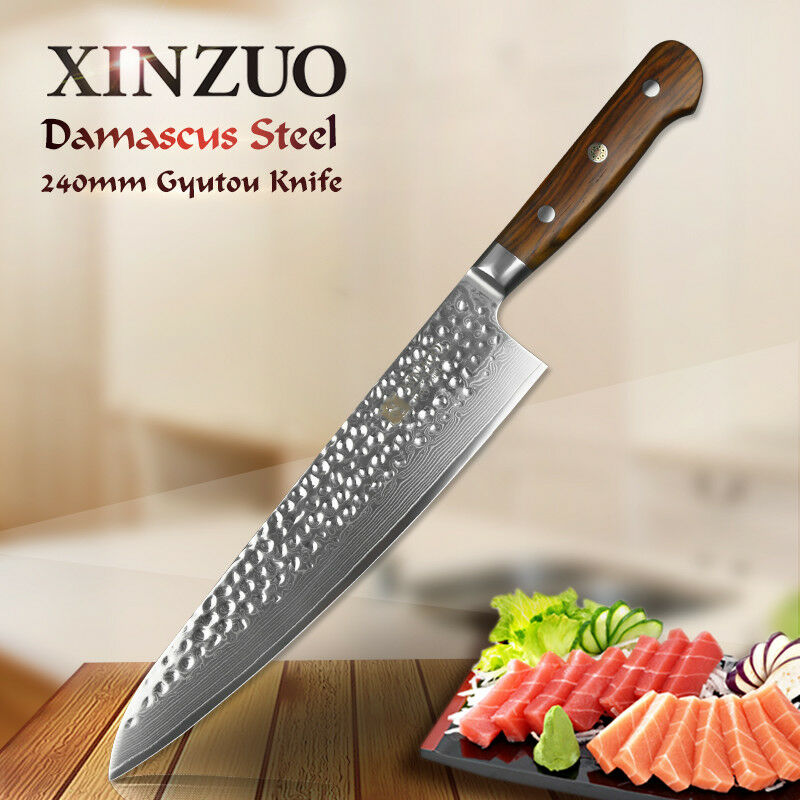 XINZUO 9.5 inch high carbon damascus steel chef knife kitchen carving knife tool