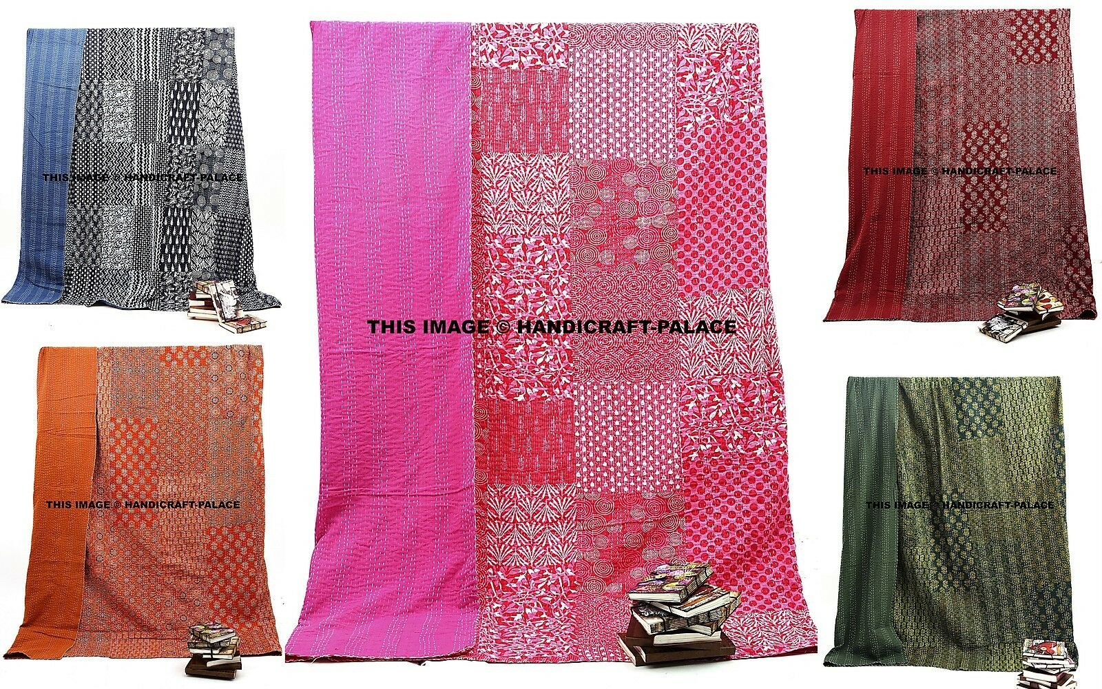 Indian Kantha Queen Quilt Patchwork Reversible Bedspread Blanket Bedding Throw