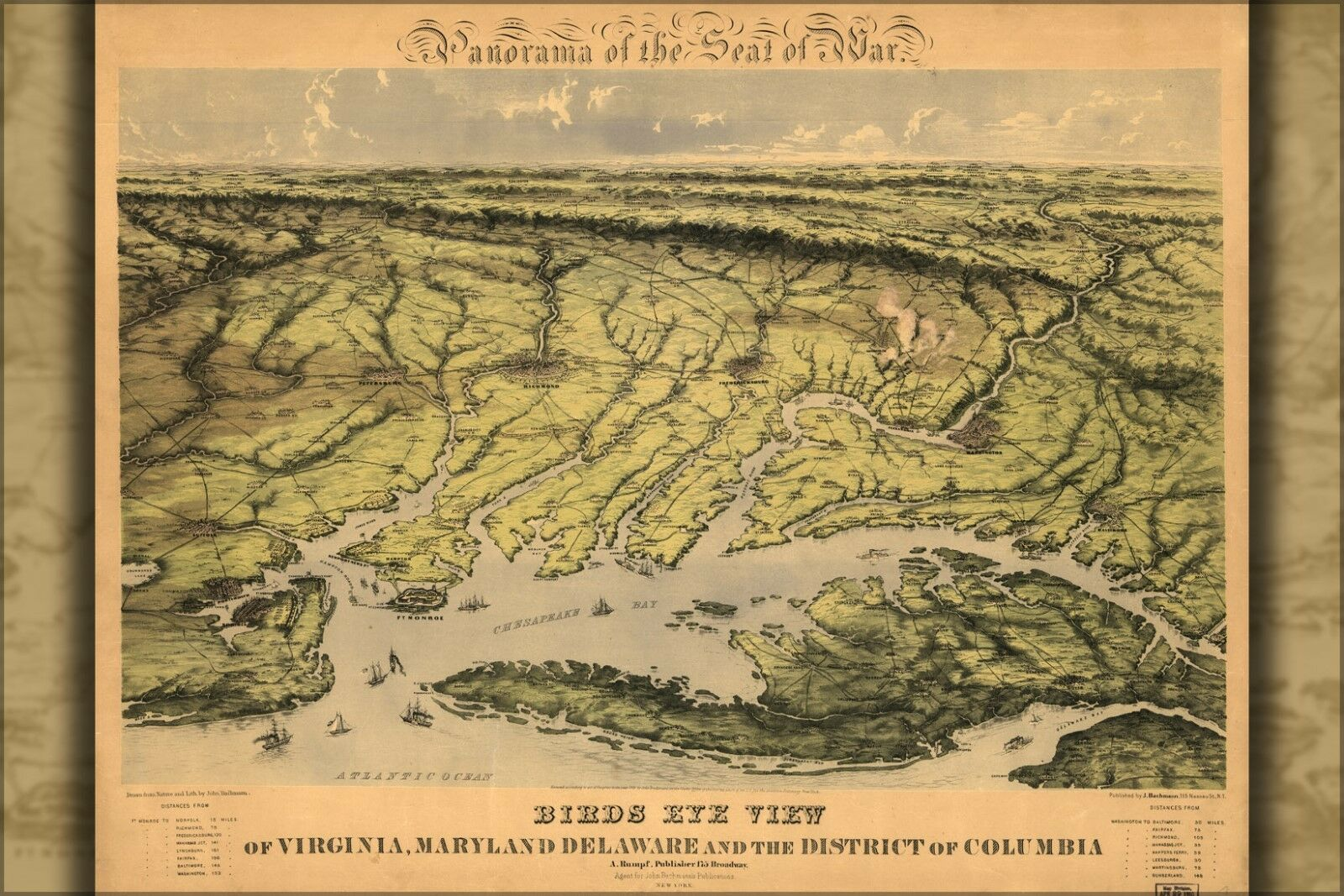 Poster, Many Größes; Birdseye View Map Virginia Maryland Delaware 1861