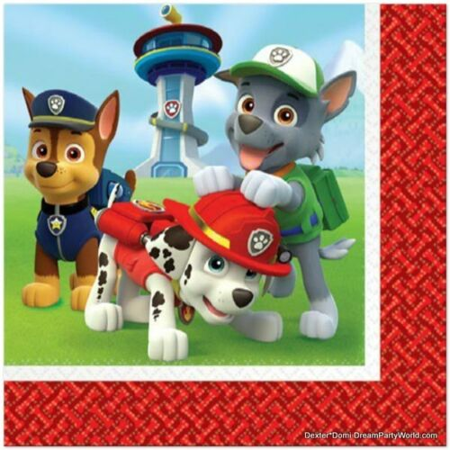 PAW PATROL NAPKINS Lunch Dog Birthday Decoration Party Supplies Boy x16 Dinner *