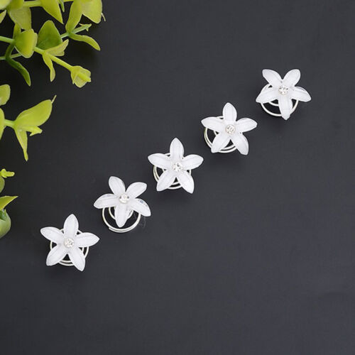 5x Kristall Braut Haar Spin Pin Twists Spulen Blume Wirbel Spirale Haarnadeln