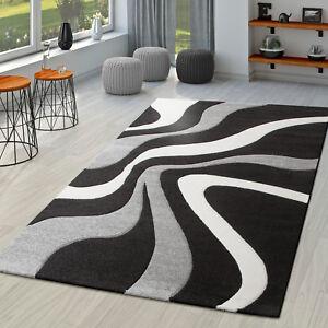 Das Bild Wird Geladen Teppich Schwarz Weiss Grau Wohnzimmer  Teppiche Modern Mit