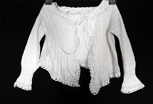 French Antique Edwardian Era Enfant Fait Main Coton Blanc Veste Nb-3months