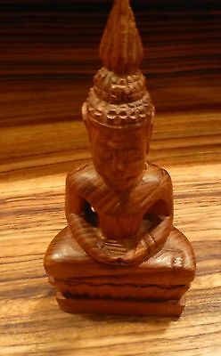"-southeast Asian- 6 1/2"" y7-w6-a8 buddha Charitable Old Carving Of The Sitting God"