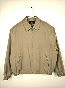 Men-039-s-Gary-Player-Faux-Suede-Jacket-Brown-Tan-Full-Zip-Up-Gold-Lining-Size-L