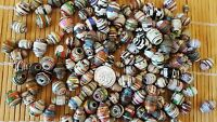 100 HAND CRAFTED ASSORTED PAPER BEADS- NOT ALL EXACTLY ALIKE, SEE PIC