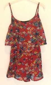 UK-8-NEW-LOOK-RED-FLORAL-PLAYSUIT-TOWIE-SUMMER-FESTIVAL-IBIZA-CELEB-BOHO-GYM