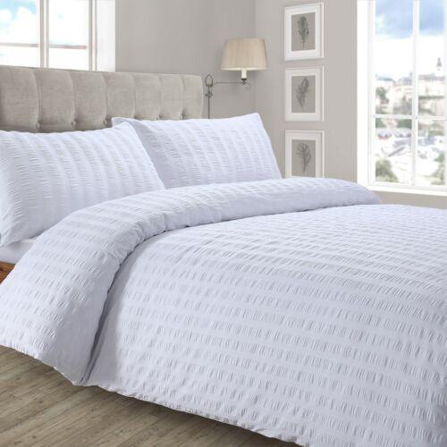 Crimped Seersucker Duvet Cover Pillowcase Bedding Set Silver White Charcoal Pink
