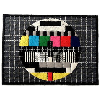 Patches Aufbügeln 8 x 5,5 cm bunt Aufnäher // Bügelbild Tv Testbild