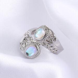 Frauen-Top-Regenbogen-Mondstein-Silber-Ring-Schmuck-Jubilaeumsgeschenke-Mode