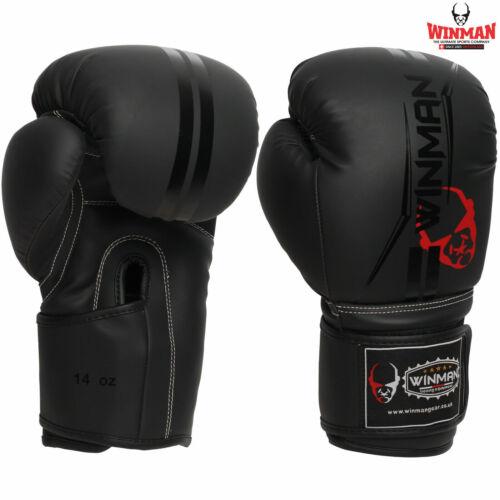 WINMAN Boxing Gloves Training Kickboxing Punching Mitts Sparring Muay Thai Black