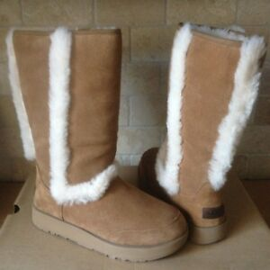 63109cf563d Details about UGG SUNDANCE CHESTNUT WATERPROOF SUEDE SHEEPSKIN TALL BOOTS  SIZE US 7 WOMENS