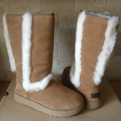 3c009f3074b UGG SUNDANCE CHESTNUT WATERPROOF SUEDE SHEEPSKIN TALL BOOTS SIZE US 8.5  WOMENS | eBay