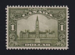Canada Sc #159 (1929) $1 olive geen Parliament Mint VF H