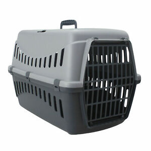Grey-Portable-Pet-Carrier-Cat-Puppy-Travel-Cage-Dog-Carry-Basket-Transporter-Box