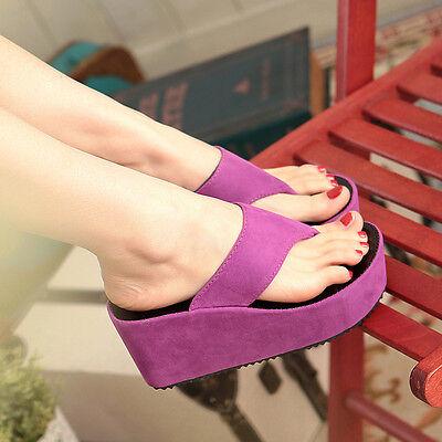 Womens Ladies Flatform Thong Flip Flop High Wedge Heeled Platform Sandals Shoes