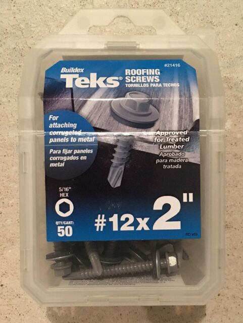 ITW Brands 50Pk #12X2 Roof Screw 21416 Self Drilling Screws Hex Head
