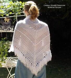 Chale Crochet Fait Main Sylvette Raisonnier Artisanat Francais Blanc Beffie à Tout Prix